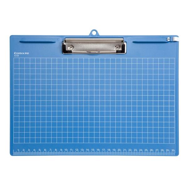 齐心(Comix) A725 A4塑胶文件夹 平板夹 横式 蓝色 办公文具