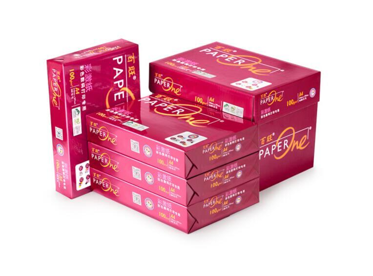红百旺A4 高档彩激复印纸 100g 500张/包 4包/箱
