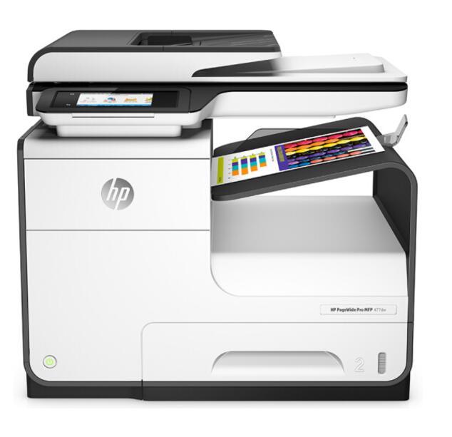 惠普HP 477DW页宽秒速高效多功能一体机彩色打印机 A4无线办公传真扫描